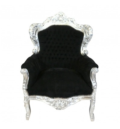 Poltrona barroca preta real na madeira cinzelada prata-mobília barroca