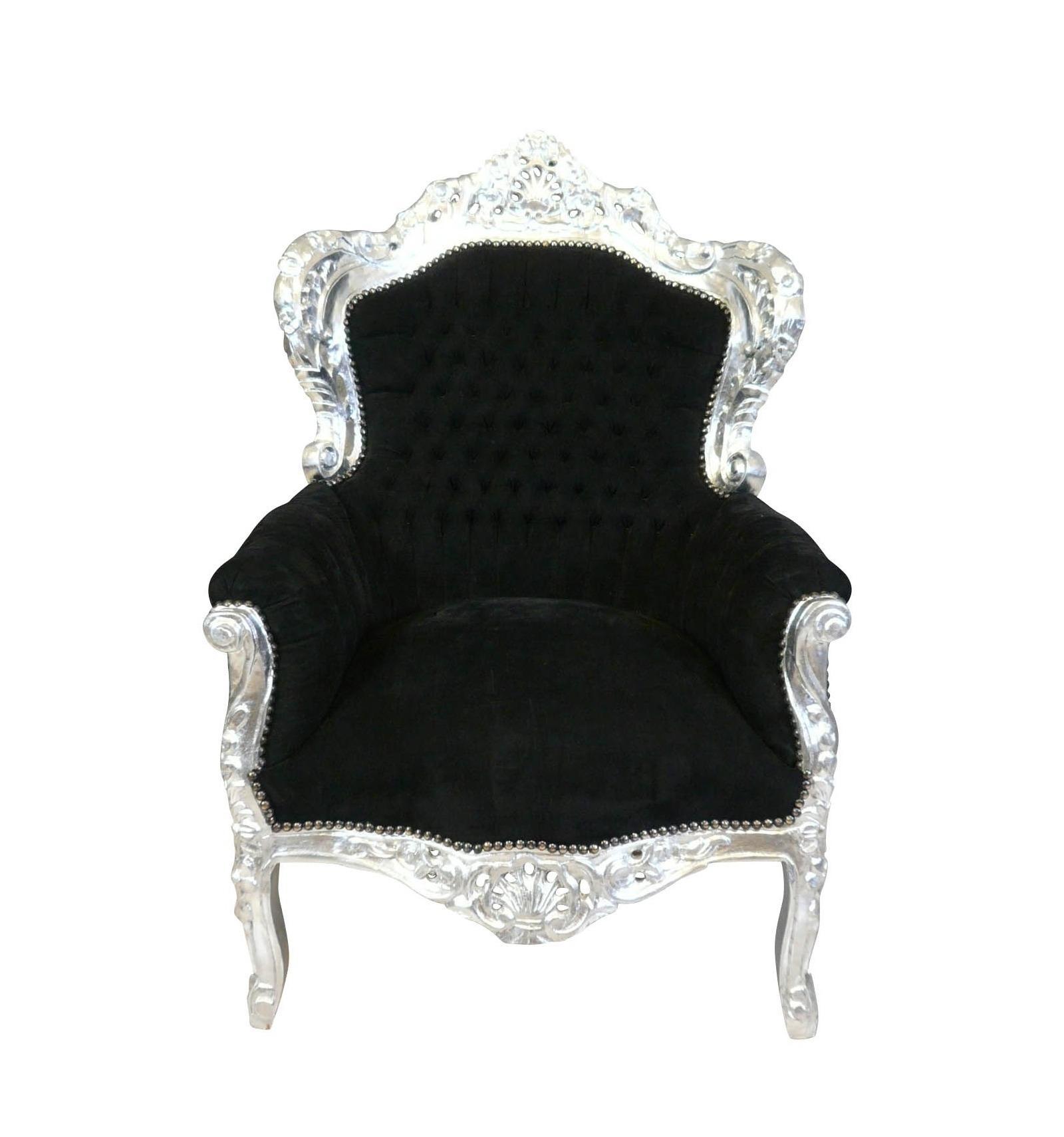 Schwarzer Royal Baroque Sessel In Silber Geschnitztem Holz