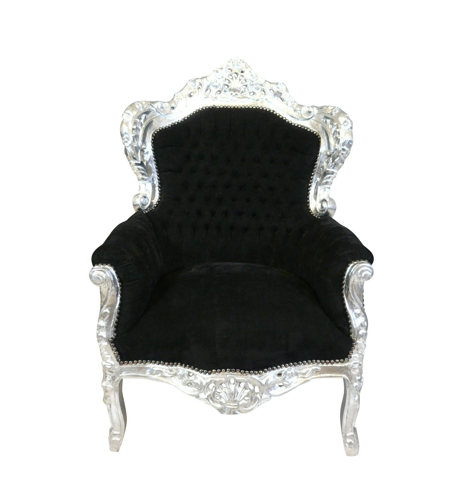 fauteuil baroque royal noir et argent chaise pouf et. Black Bedroom Furniture Sets. Home Design Ideas