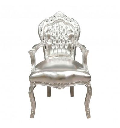 Sillón barroco plateado - Muebles barroco plateado. -