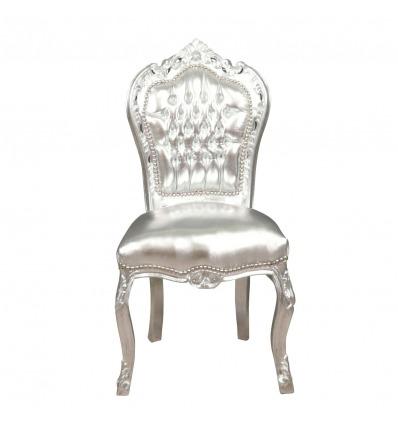 Silla barroca plateada - Muebles barrocos para el salón. -