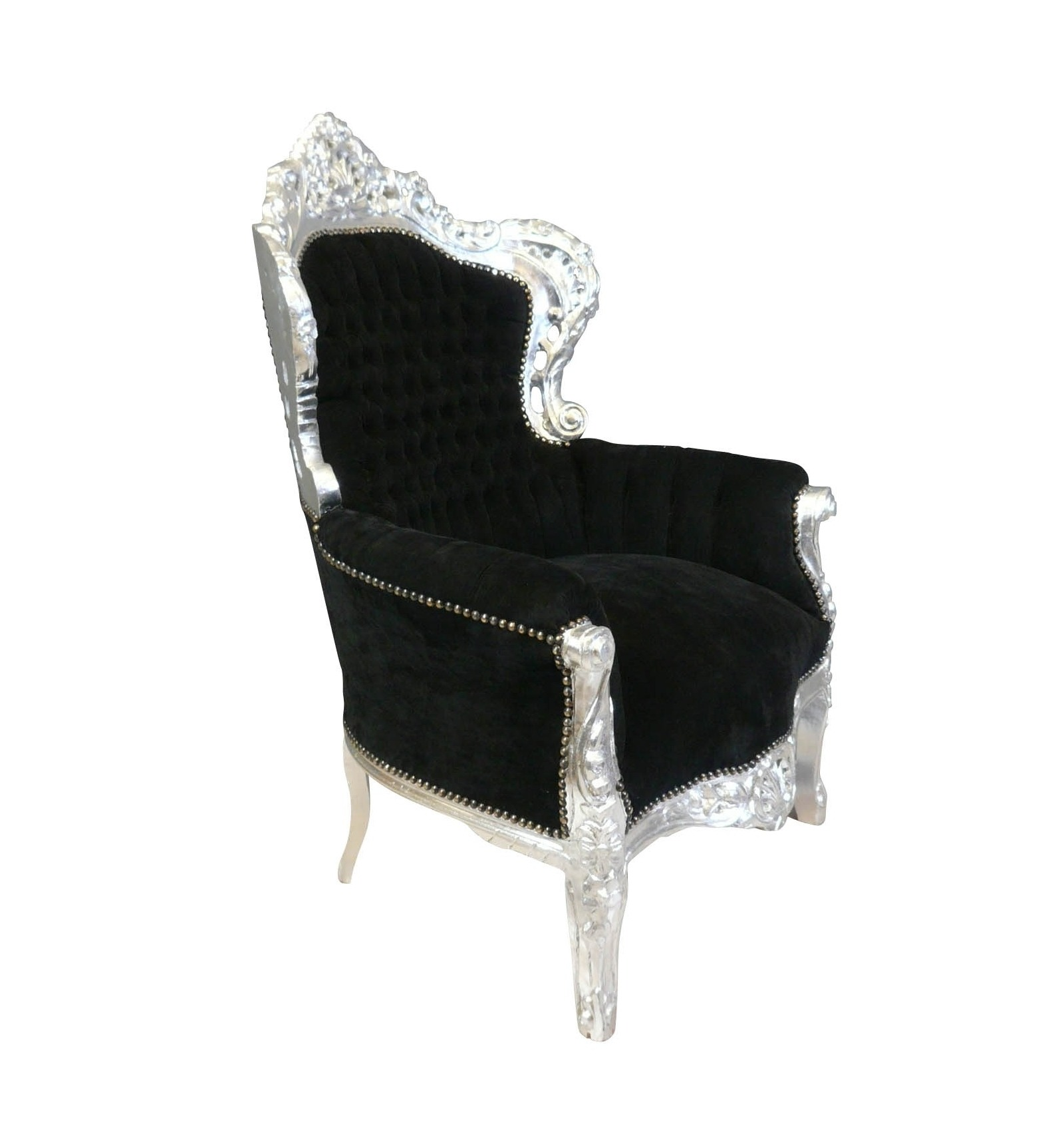 fauteuil baroque royal noir en bois sculpt argent. Black Bedroom Furniture Sets. Home Design Ideas