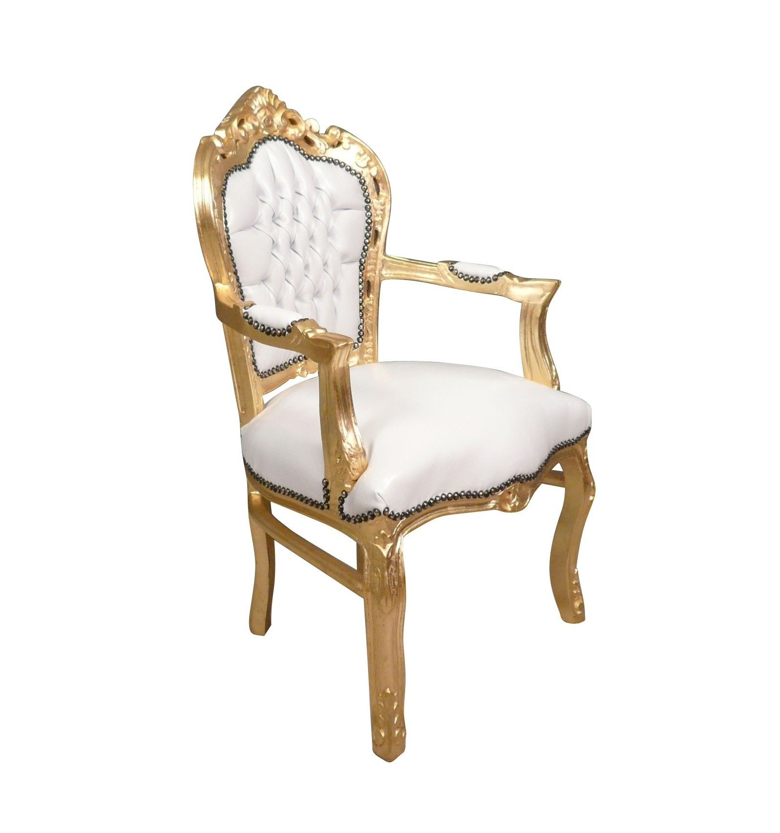 wei e und goldene barock sessel stuhl und m bel deco. Black Bedroom Furniture Sets. Home Design Ideas
