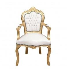 Fauteuil blanc style baroque en bois doré