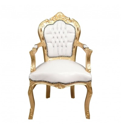 White and gold baroque armchair - Rococo seats -