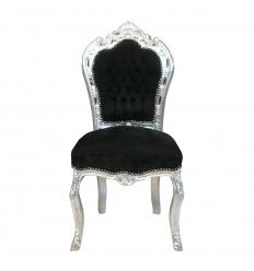 Barock stol i svart sammet och silver trä