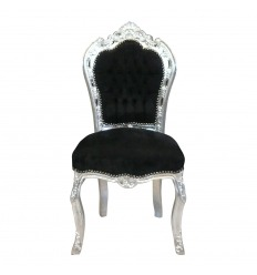 Baroque chair black velvet and wood silver