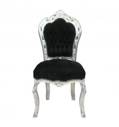 Barock Stuhl in Schwarz und Silber mit Samtstoff - Barockmobel