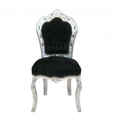 Baroque black and silver chair with velvet fabric - Baroque chairs -