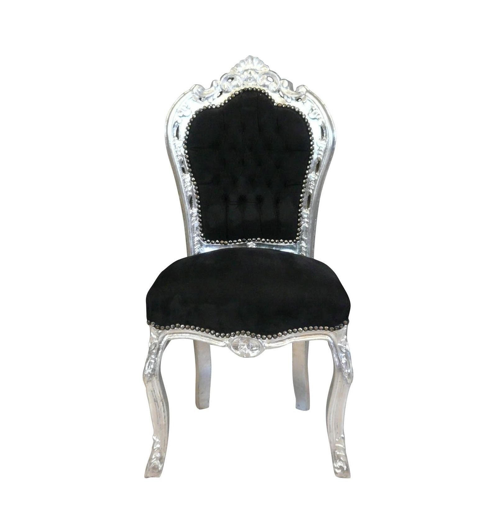 Chaise baroque noire et argent avec un tissu velours - Chaise baroque noir ...