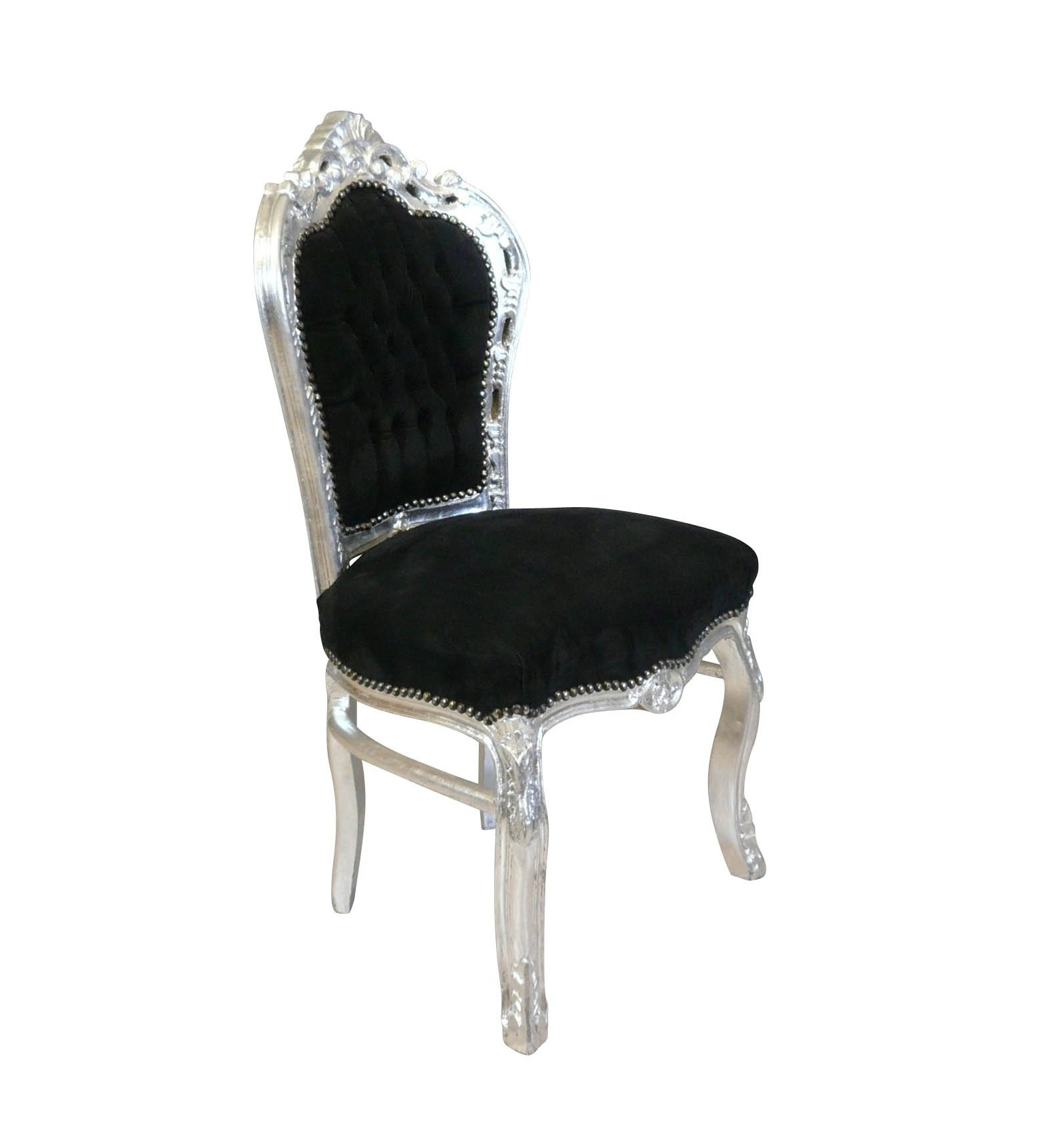 Chaise baroque en velours noir et bois argent for Chaise baroque avec accoudoir