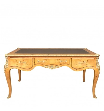 Large Louis XV desk in elm burl
