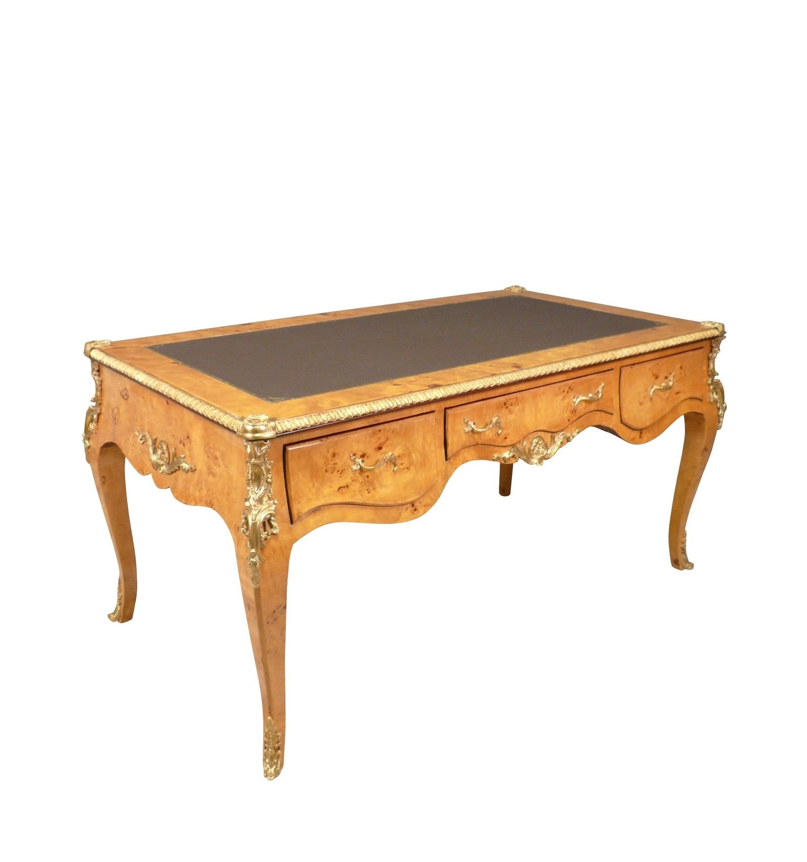 Grand bureau louis xv en loupe d 39 orme meubles de style for Meuble bureau louis xv