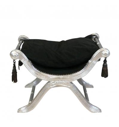 Panca in stile barocco Dagobert e nero-argento - Sedile rococò -