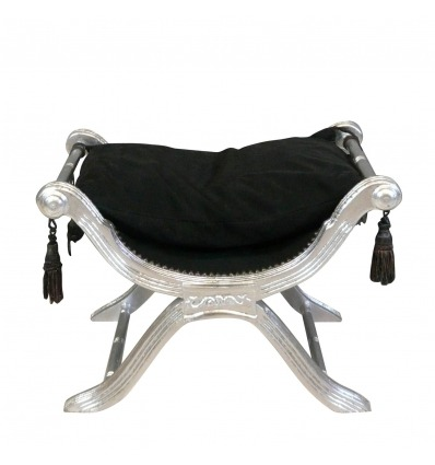 Baroque Bench Dagobert style black and silver
