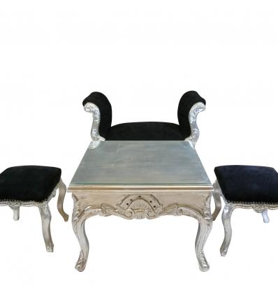 Table basse baroque argentée - Fauteuil et chaise