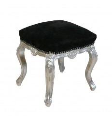 Black and silver baroque pouf