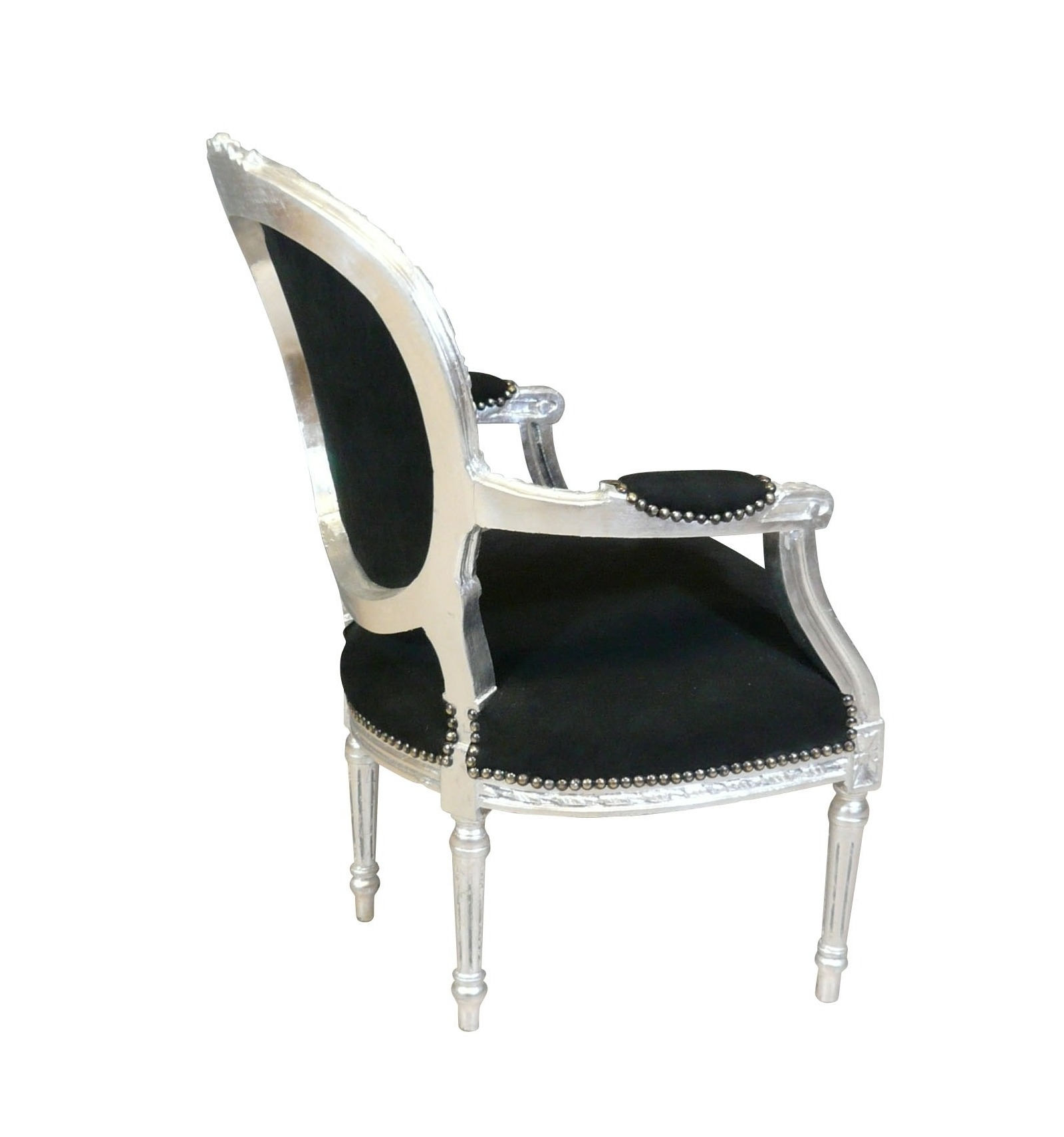 fauteuil louis xvi baroque noir et argent mobilier baroque. Black Bedroom Furniture Sets. Home Design Ideas