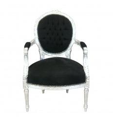 Louis XVI armchair in black velvet and silver wood