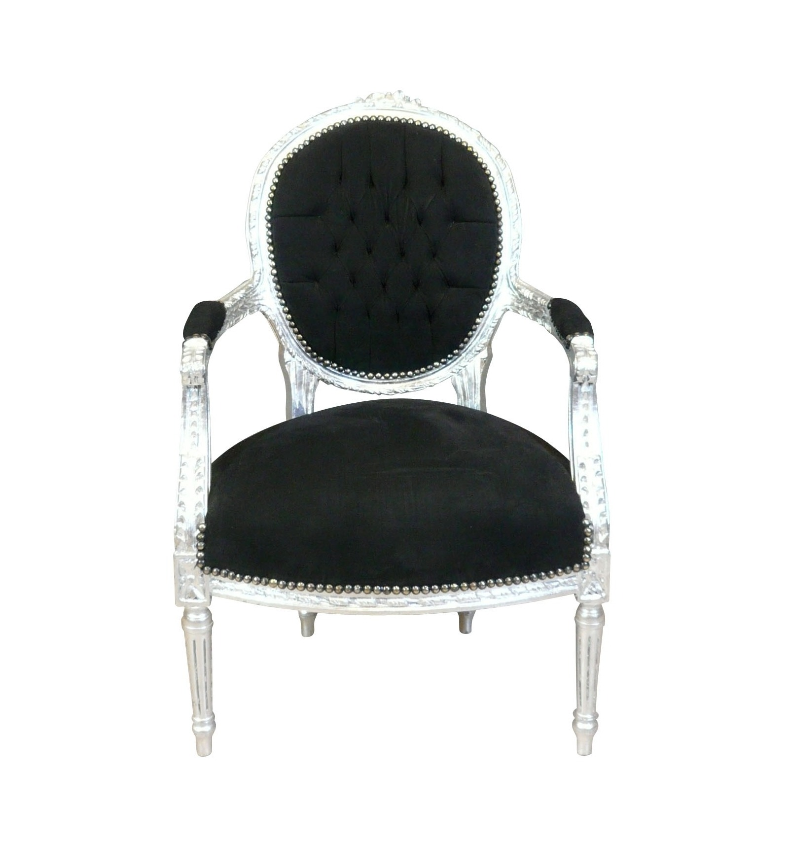 fauteuil louis xvi baroque noir et argent mobilier baroque. Black Bedroom Furniture Sets. Home Design Ideas