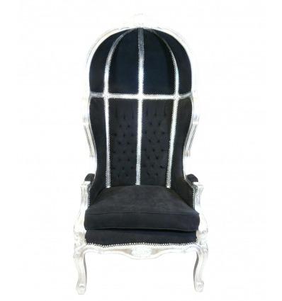 Sillón barroco negro entrenador - Venta de muebles barrocos -