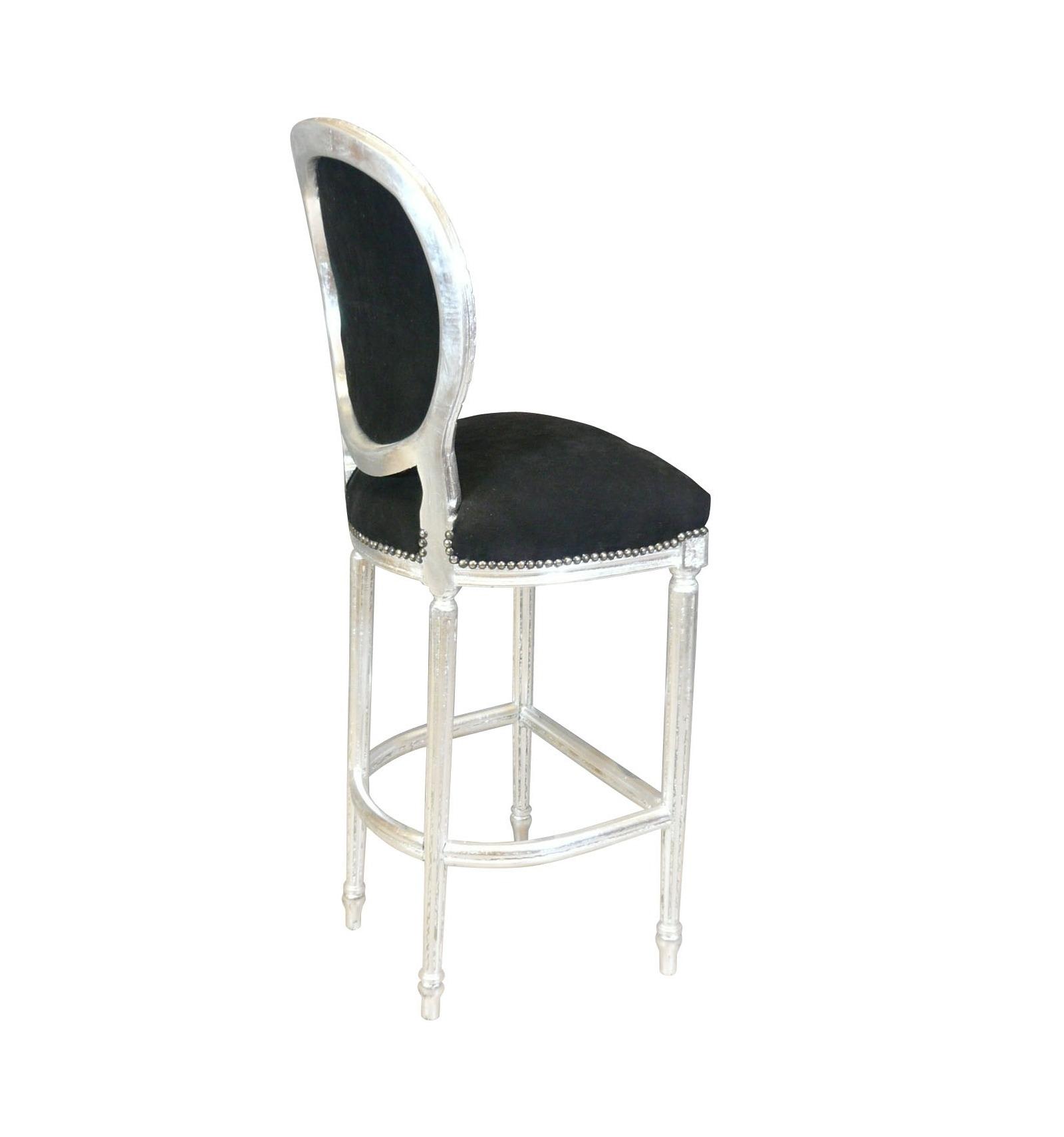 Chaise de bar baroque de style louis xvi noire et argent for Chaise de style