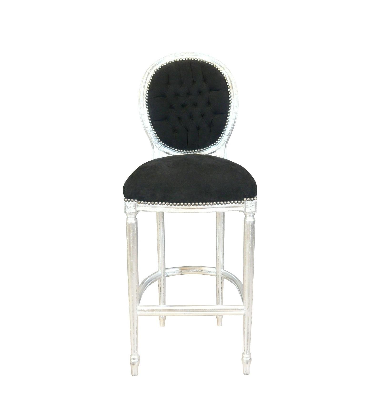 Chaise de bar baroque de style louis xvi noire et argent - Chaise de bureau baroque ...