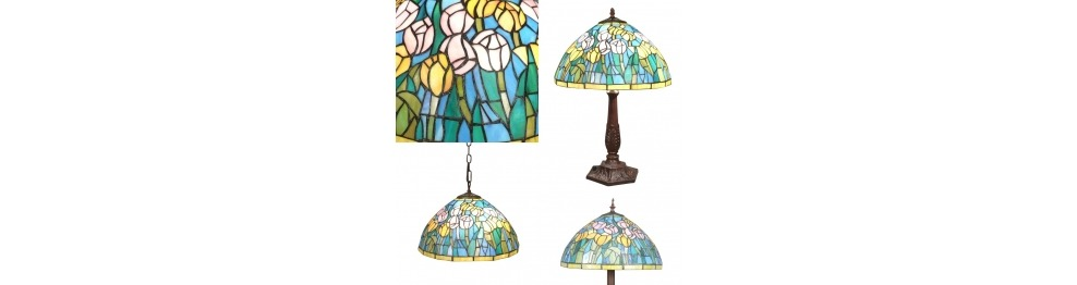 Series of lighting fixtures with Tiffany lamps