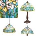 Serie de luminarias con lámparas tiffany.