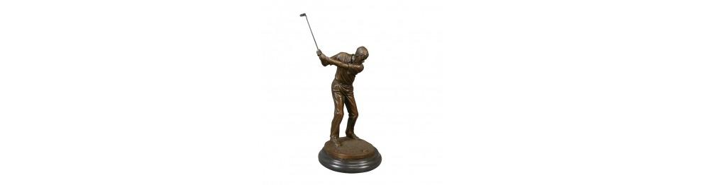 Estatuas de bronce sobre el deporte.
