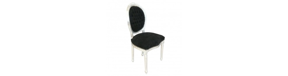 chaises louis xvi baroque noire blanche ou argent. Black Bedroom Furniture Sets. Home Design Ideas