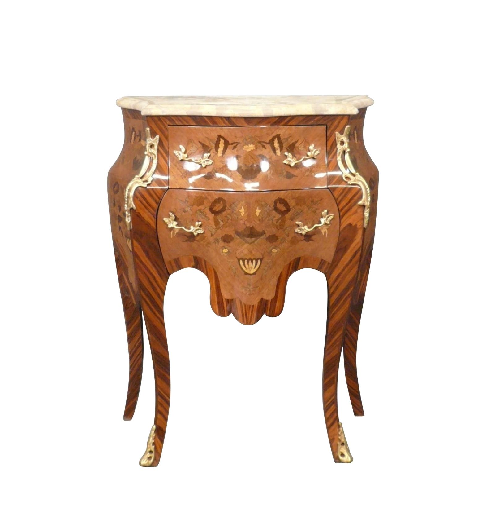 Commodes Louis XV en placage avec 2 tiroirs