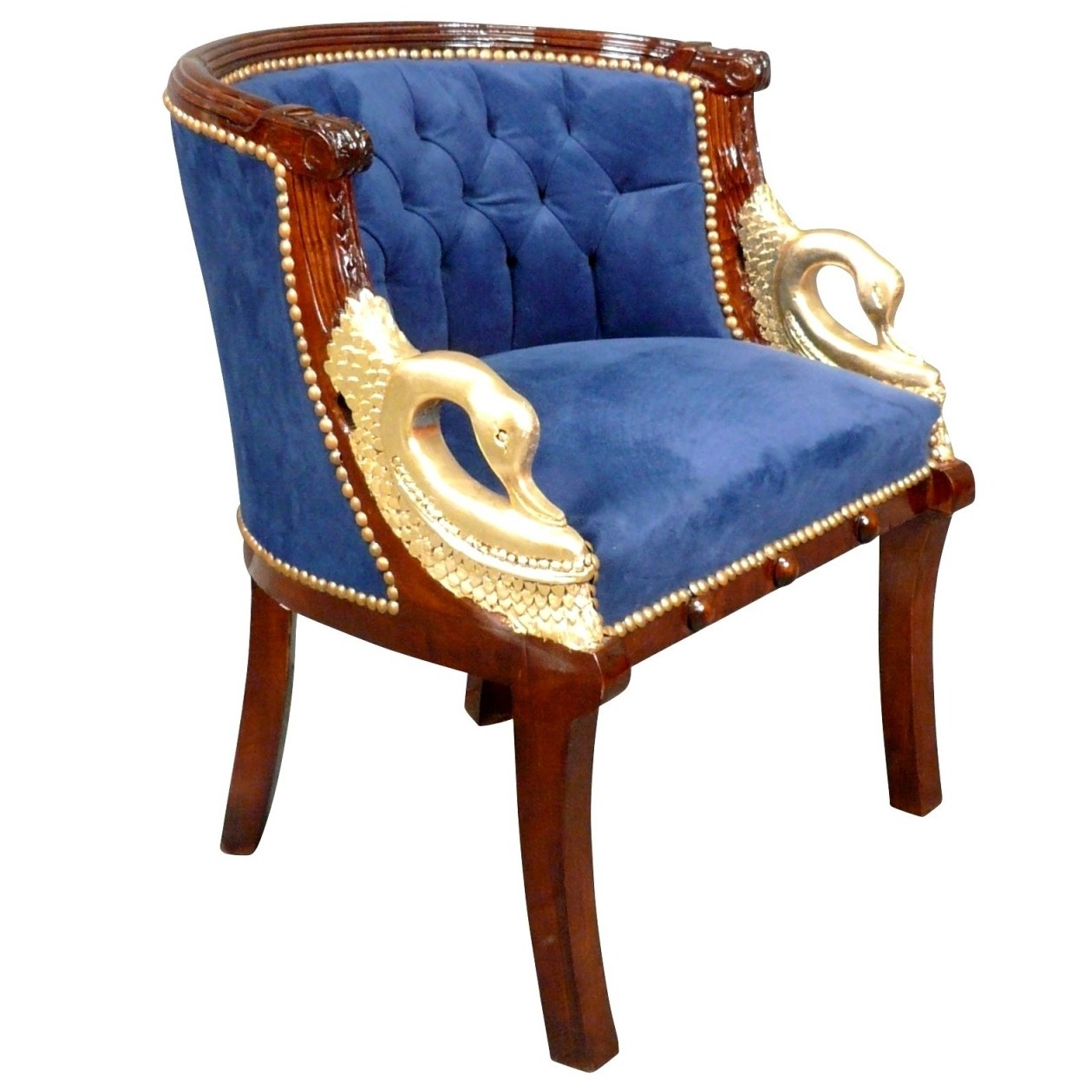 Fauteuil style Empire Bleu à col de Cygne en acajou