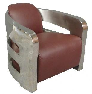 Fauteuil cuir et métal poli