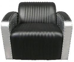 Fauteuil club en simili cuir noir style Douglas