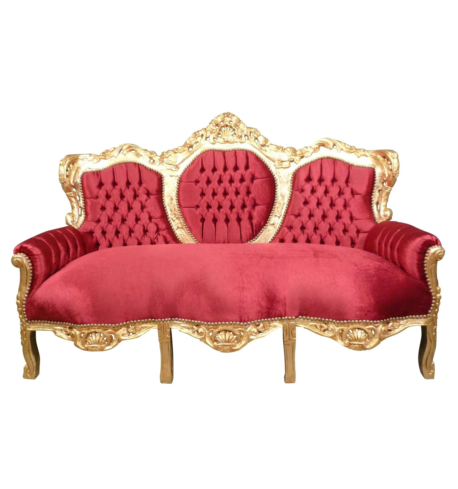 Canapé de style rococo rouge