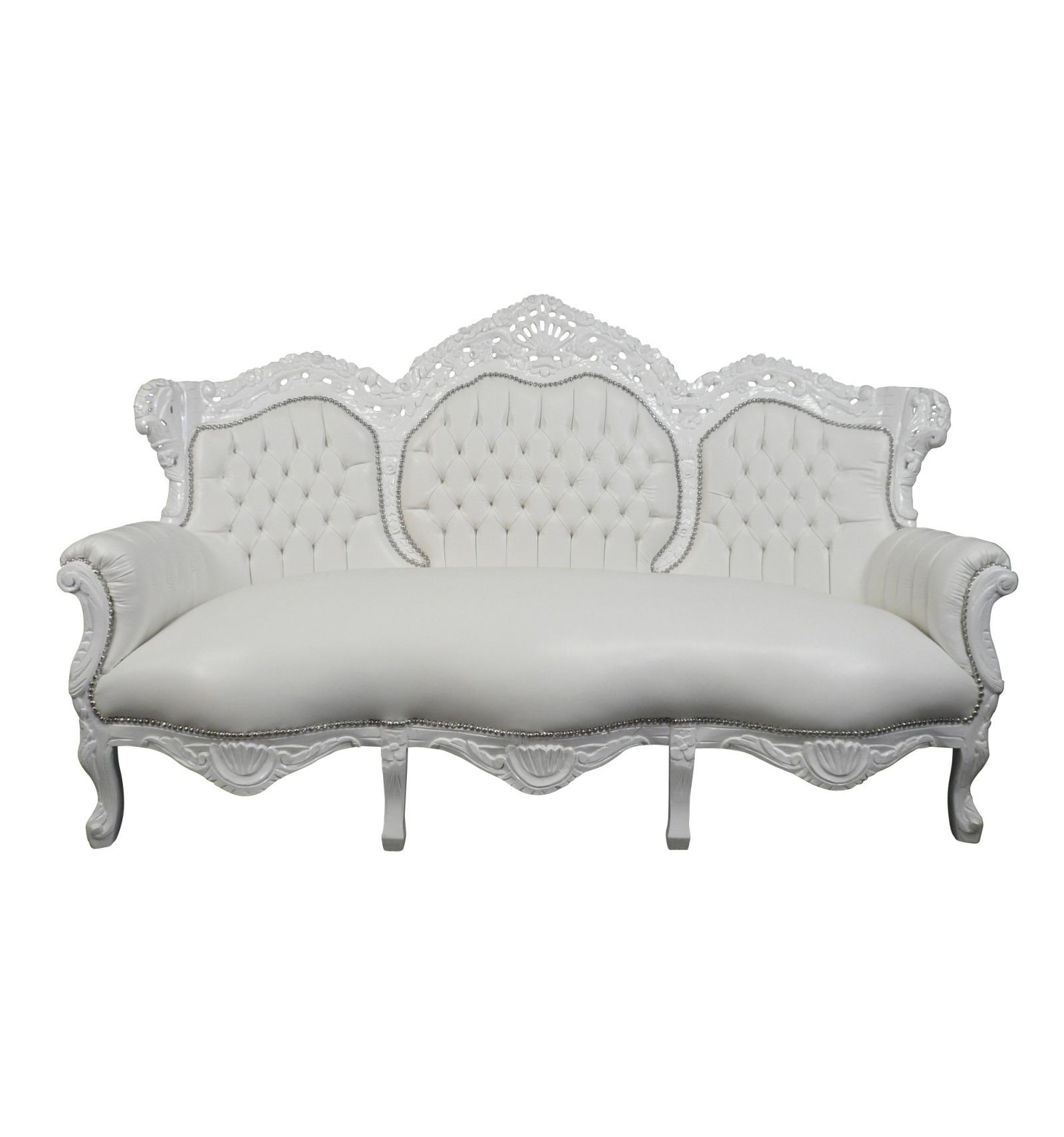 Canapé baroque blanc pour événements et mariages