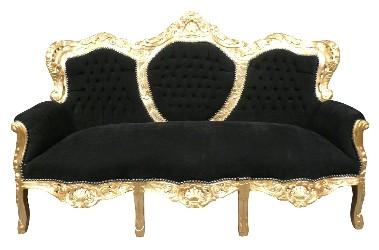 Canapé baroque en velours noir