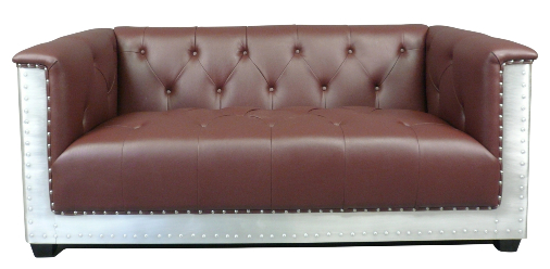 Canapé Chesterfield simili cuir alu