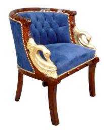 Fauteuil Empire tissu bleu