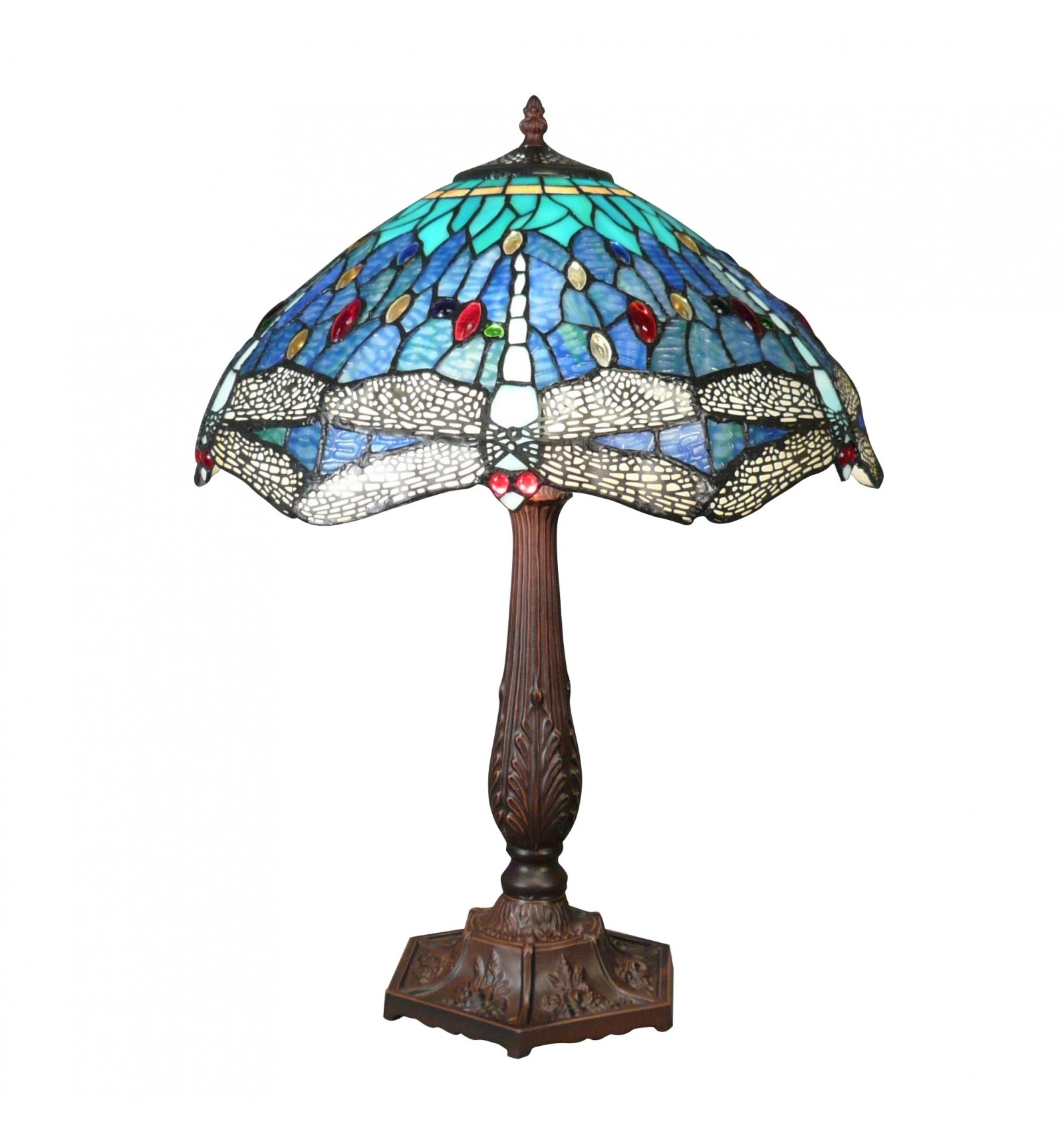 Lampe style Tiffany Dragonfly bleue