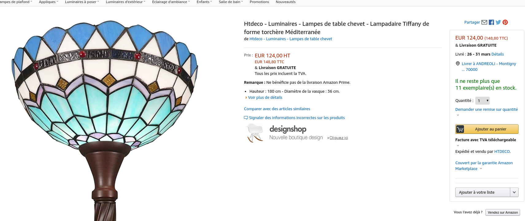 Un exemple pour commander une lampe Tiffany sur Amazon