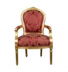 Fauteuil Louis XVI rouge et bois doré à la feuille d'or