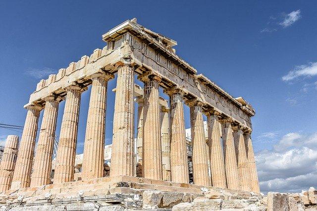 Colonnes du temple de l'Acropole à Athènes