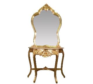 Console baroque or et marbre beige