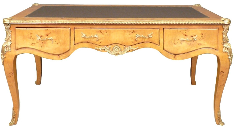 Bureau Louis XV plat avec des bronzes