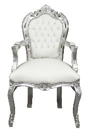 Chaise baroque en cuir blanc
