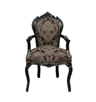Fauteuil baroque classique noir