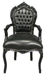 Fauteuil baroque noir en simili cuir