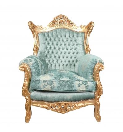 Fauteuil baroque en bois doré tissu bleu